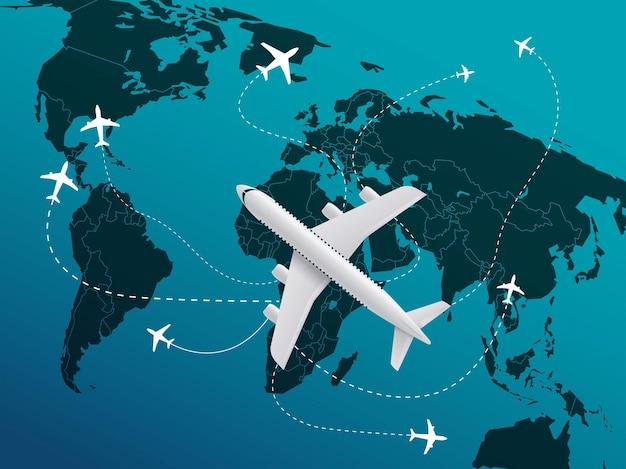 Concetto di viaggio del mondo con aeromobili