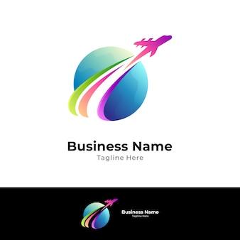 Modello di logo di viaggio del mondo