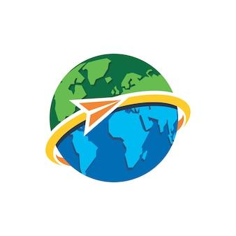 Modello di progettazione del logo in viaggio mondiale