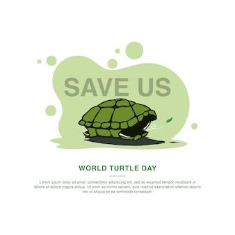 Modello di campagna world turtle day. illustrazione vettoriale Vettore Premium