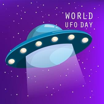 Giornata mondiale degli ufo. astronave che vola nel cielo notturno. invasione aliena, nave non identificata. scienze e tecnologia. viaggio spaziale.