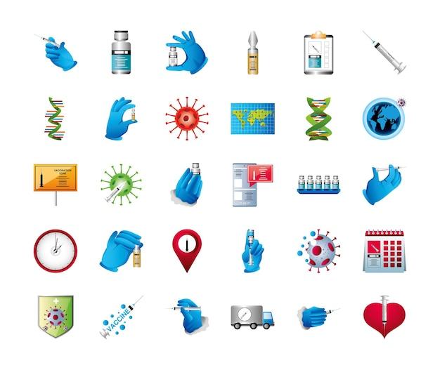 Illustrazione delle icone di vaccinazione di immunizzazione protettiva del vaccino del coronavirus del mondo