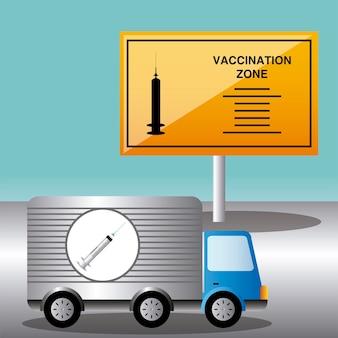 Illustrazione del camion e della zona di vaccinazione del vaccino del coronavirus del mondo