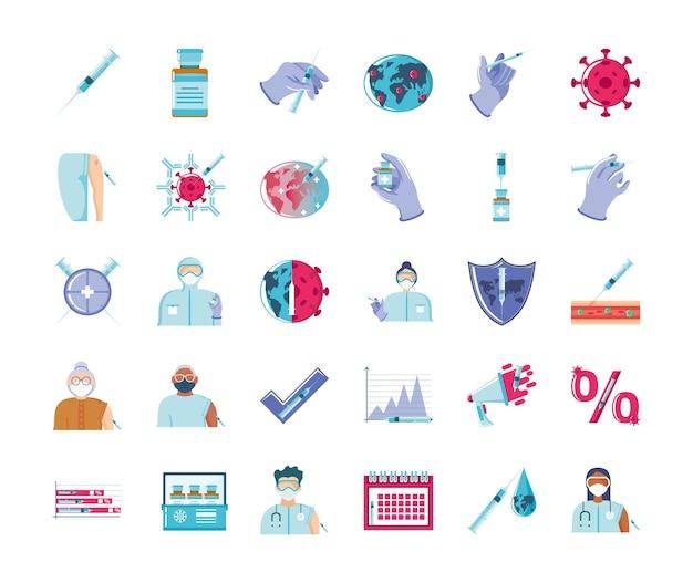 Vaccino mondiale, illustrazione delle icone di prevenzione del coronavirus di vaccinazione immunizzazione