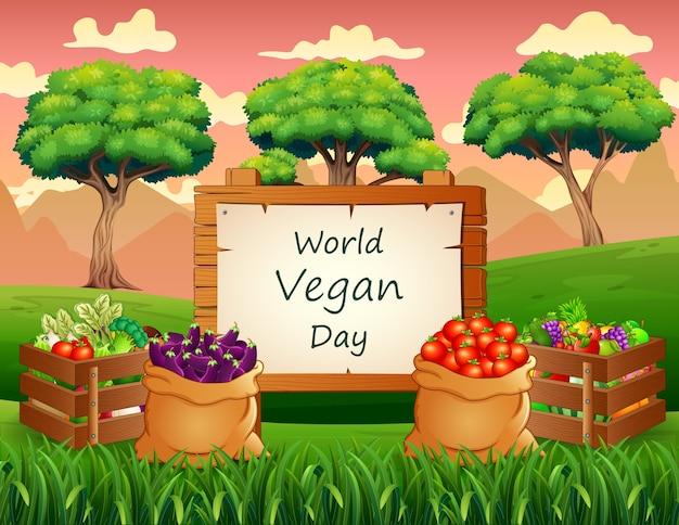 Sfondo di giornata mondiale vegana con verdure
