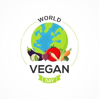 Grafica vettoriale di celebrazione di banner giornata mondiale vegana