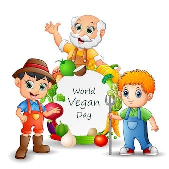 Modello di giornata mondiale vegana con agricoltori e verdure sul telaio
