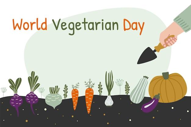 Bandiera della giornata mondiale vegetariana l'uomo sta raccogliendo in un campo