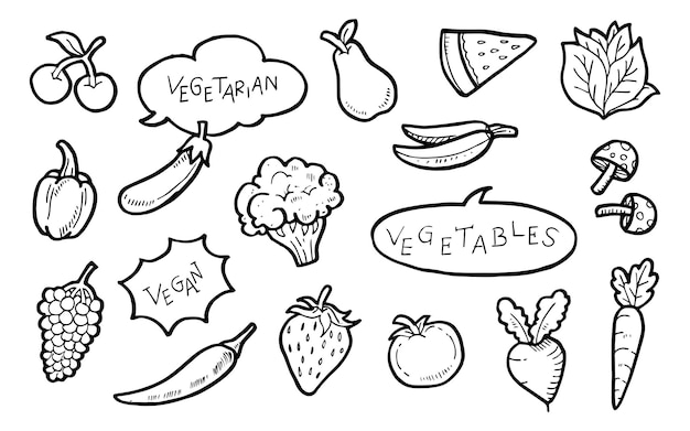 Giornata mondiale vegetariana doodle, illustrazione vettoriale.