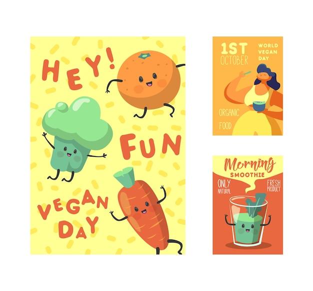 World vegetarian holiday design con verdure divertenti e alimenti biologici