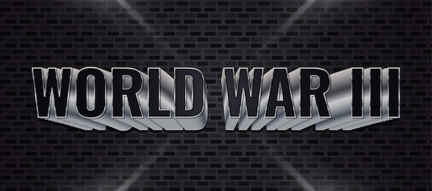 Testo della terza guerra mondiale con testo 3d in nero e metallo sul muro di mattoni scuri