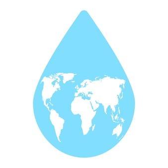 Giornata mondiale dell'acqua goccia blu e mappa del mondo salva il concetto di acqua protezione pianeta terra salva pianeta