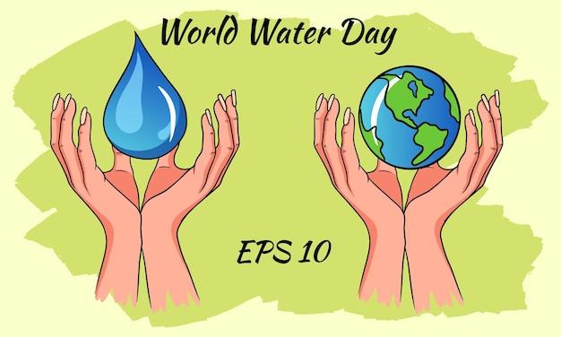 Giornata mondiale dell'acqua. una goccia d'acqua e un pianeta nelle mani.