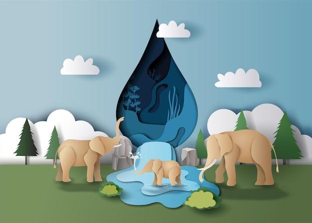 Giornata mondiale dell'acqua, un paesaggio della famiglia di elefanti con goccia d'acqua e alberi sullo sfondo, illustrazione di carta.