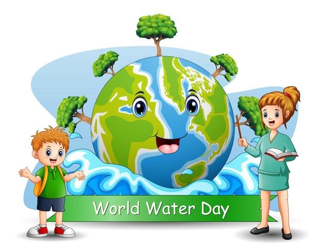 Giornata mondiale dell'acqua con insegnante e studente