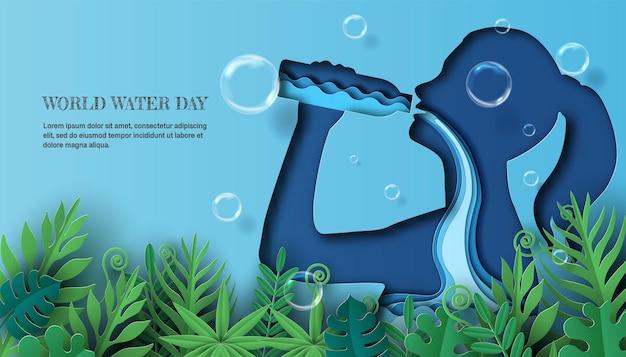 Giornata mondiale dell'acqua, una donna che beve acqua e l'acqua scorre attraverso il suo corpo.