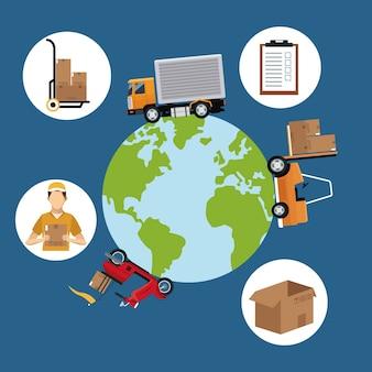 Concetto di consegna di trasporto merci in tutto il mondo