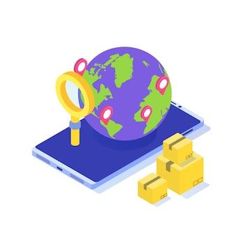 Concetto isometrico di consegna internazionale in tutto il mondo. spedizione di merci in tutto il mondo, logistica globale.