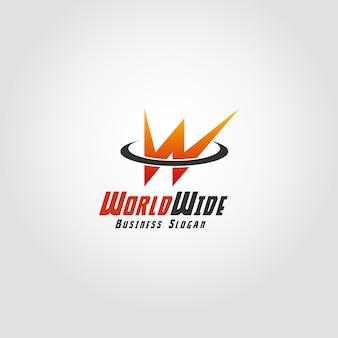 World wide - modello di lettera w logo