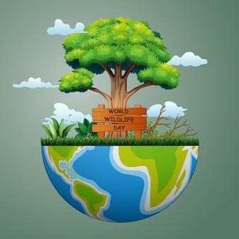 Fondo di concetto del segno di giornata mondiale della fauna selvatica con la terra