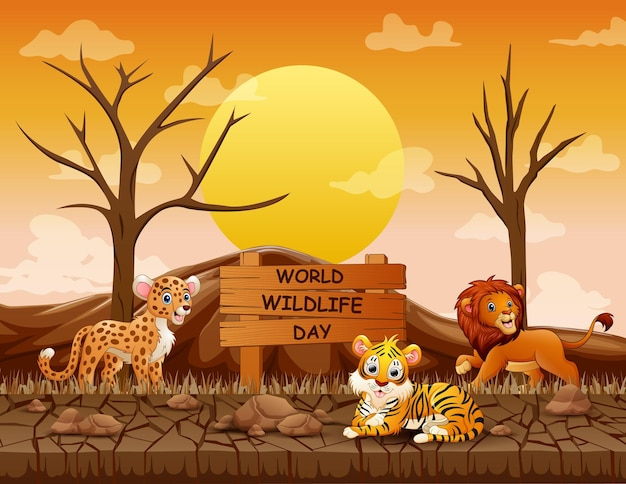 Segno di giornata mondiale della fauna selvatica con animali nella terraferma