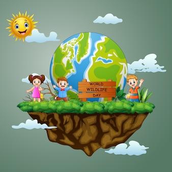 Segno di giornata mondiale della fauna selvatica con bambini felici sull'isola