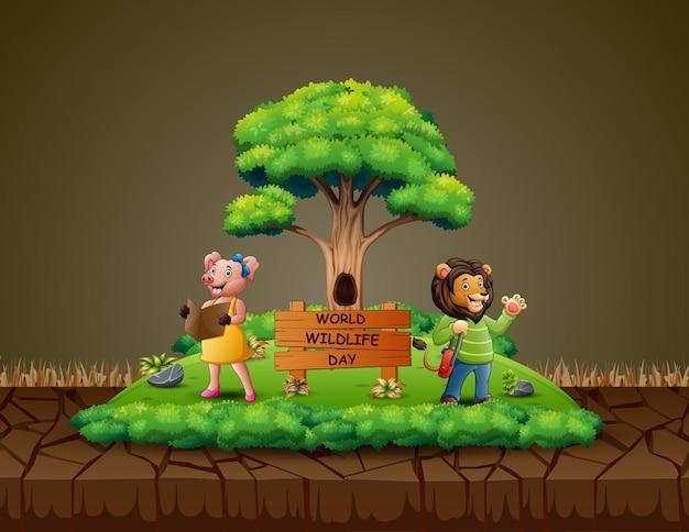 Giornata mondiale della fauna selvatica con il cartone animato animale