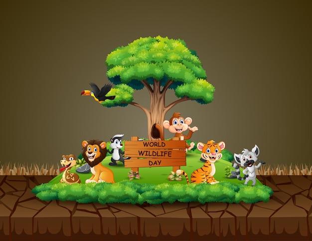 Giornata mondiale della fauna selvatica con gli animali in una foresta verde