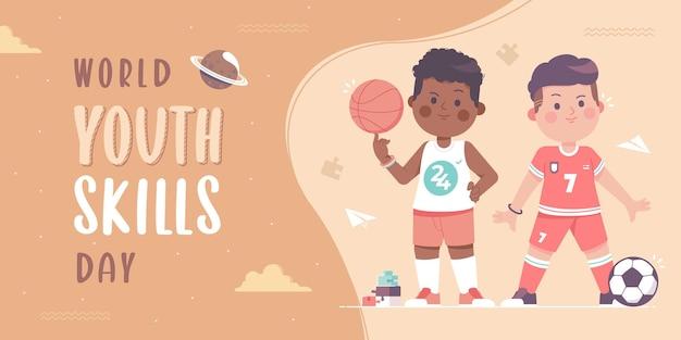 Modello di banner per la giornata mondiale delle abilità giovanili