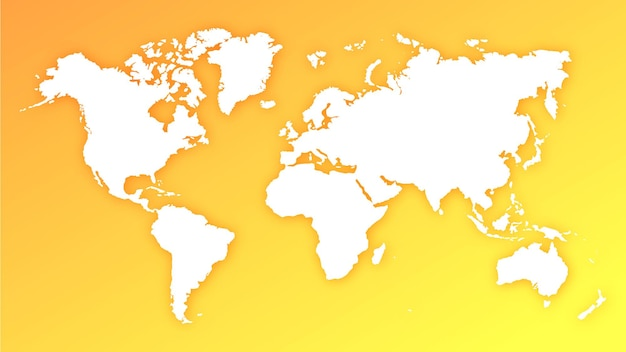 Mappamondo globo silhouette su giallo e arancione sfondo sfumato