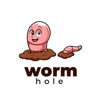 Disegno del logo del simpatico cartone animato creativo del buco del verme