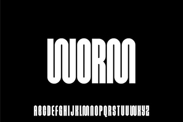 Worm, carattere di alfabeto urbano grassetto condensato