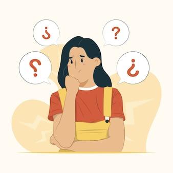 Concetto di donna preoccupata isolato su bianco