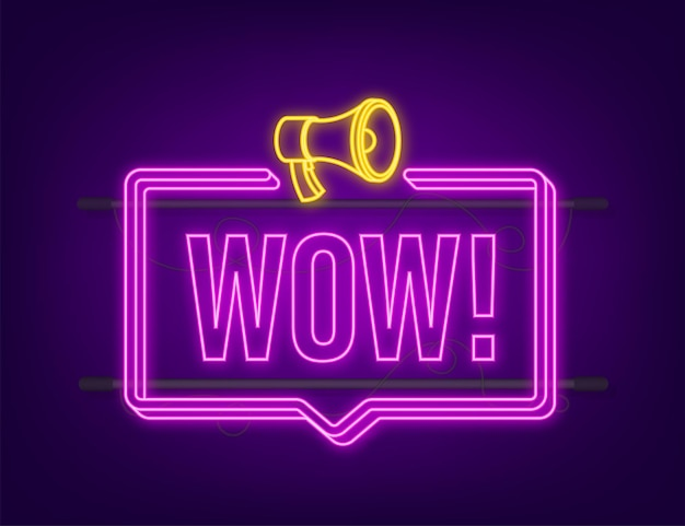 Wow megafono al neon. illustrazione vettoriale piatto. annunciare l'offerta promozionale. le persone comunicano.