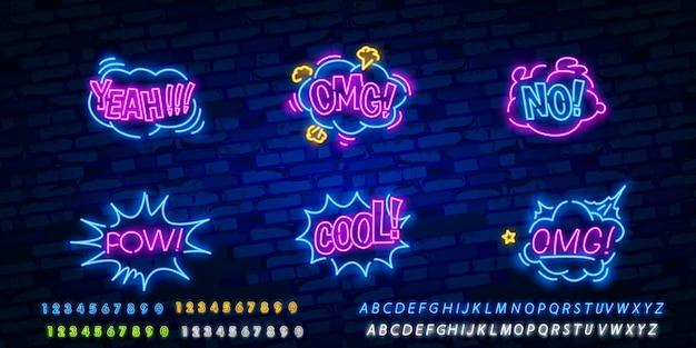 Segno al neon di wow con fumetto comico con testo di espressione