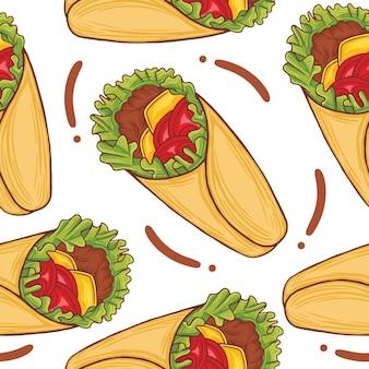 Avvolgere il modello senza cuciture fast food in stile design piatto