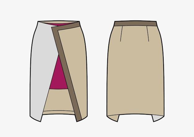 Avvolgere la gonna a matita color block. illustrazione di moda