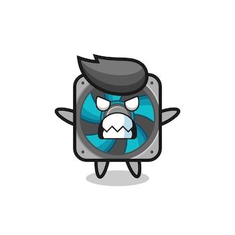 Espressione irata del personaggio mascotte fan del computer, design in stile carino per maglietta, adesivo, elemento logo