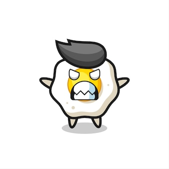 Espressione irata del personaggio mascotte dell'uovo fritto, design in stile carino per maglietta, adesivo, elemento logo