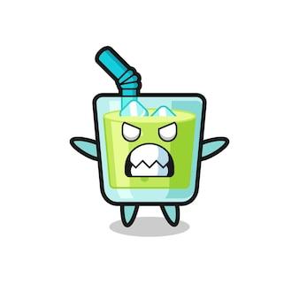 Espressione irata del personaggio mascotte del succo di melone, design in stile carino per maglietta, adesivo, elemento logo