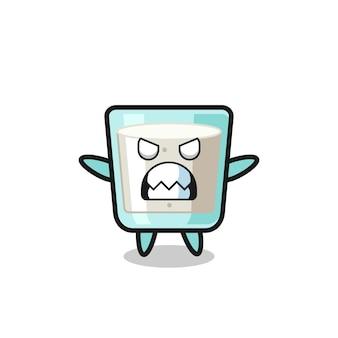 Espressione adirata del personaggio della mascotte del latte, design in stile carino per maglietta, adesivo, elemento logo