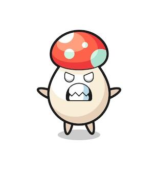 Espressione irata del personaggio mascotte del fungo, design in stile carino per maglietta, adesivo, elemento logo