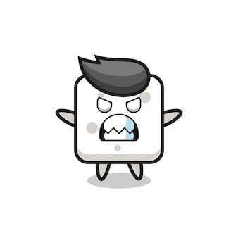 Espressione irata del personaggio mascotte della zolletta di zucchero, design in stile carino per maglietta, adesivo, elemento logo