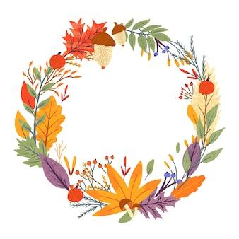 Corona di foglie che cadono autunnali di quercia, acero, bacche e funghi. collezione di album per elementi della stagione autunnale. illustrazione vettoriale piatta naturale con floreale per pubblicità, promozione