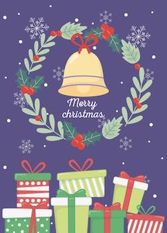 Cartolina di natale dei fiocchi di neve dei contenitori di regalo della campana della corona