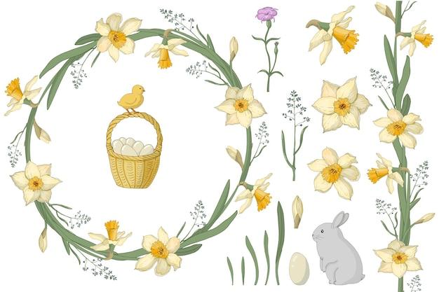 Una corona di narcisi ed erbe primaverili con la scritta. cestino di pasqua, uova, lepre, pollo. adatto per cartoline e inviti.
