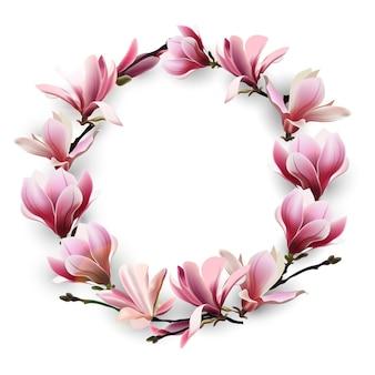 Corona di fiori delicati rosa magnolia modello per biglietti d'auguri per la festa della mamma
