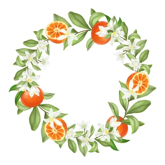 Corona di rami di albero di mandarino in fiore disegnati a mano, fiori di mandarino e mandarini