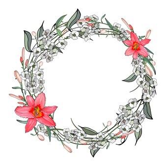 Ghirlanda di gigli rosa e fiori bianchi.