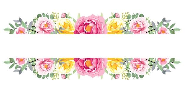 Ghirlanda di fiori rosa e gialli su sfondo bianco